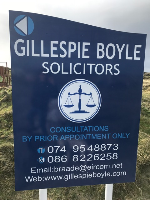 Sign at Beachside, Braade for Gillespie Boyle Solicitors